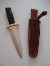 JEAN TANAZACQ BIG GAME BOW HUNTER BLACK MICARTA HANDLE BRASS FITTINGS- A MIGHTY KNIFE-1 OF-A-KIND- A SCARCITY