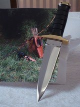 JEAN TANAZACQ BIG GAME BOW HUNTER BLACK MICARTA HANDLE BRASS FITTINGS- A MIGHTY KNIFE-1 OF-A-KIND- A SCARCITY - 1 of 10