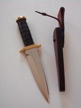 JEAN TANAZACQ BIG GAME BOW HUNTER BLACK MICARTA HANDLE BRASS FITTINGS- A MIGHTY KNIFE-1 OF-A-KIND- A SCARCITY - 7 of 10