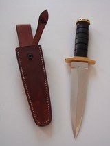 JEAN TANAZACQ BIG GAME BOW HUNTER BLACK MICARTA HANDLE BRASS FITTINGS- A MIGHTY KNIFE-1 OF-A-KIND- A SCARCITY - 8 of 10