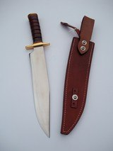 JEAN TANAZACQ ULTIMATE WARRIOR'S BLADE/ PROTOTYPE FIGHTING MODEL-LEATHER WASHERS HANDLE BRASS FITTING- A MIGHTY KNIFE - 4 of 13