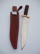 JEAN TANAZACQ ULTIMATE WARRIOR'S BLADE/ PROTOTYPE FIGHTING MODEL-LEATHER WASHERS HANDLE BRASS FITTING- A MIGHTY KNIFE - 3 of 13