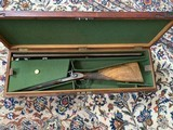Magnificent Best French Pinfire made by Hedeline in Paris 1882 with Leopold Bernard Damascus Barrels and Case; a spectacular gun much original finish