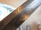 1810-20 WARRANTED EAGLE HEAD ARTILLARY SWORD & BRASS SCABBARD, 13 STAR ETCHED SHIELD ON BLADE, LIBERTY HAT, PIKE - 9 of 15