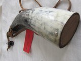 2HORN POWDER FLASKS and part of an OLD LEATHER SHOT FLASK - 7 of 15