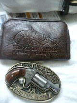 Freedom Arms 22 lr Derringer w/Belt Buckle Holster MINT w/ Pouch