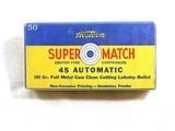 Western Cartridge Co. Super Match 45 A.C.P. With Bullseye