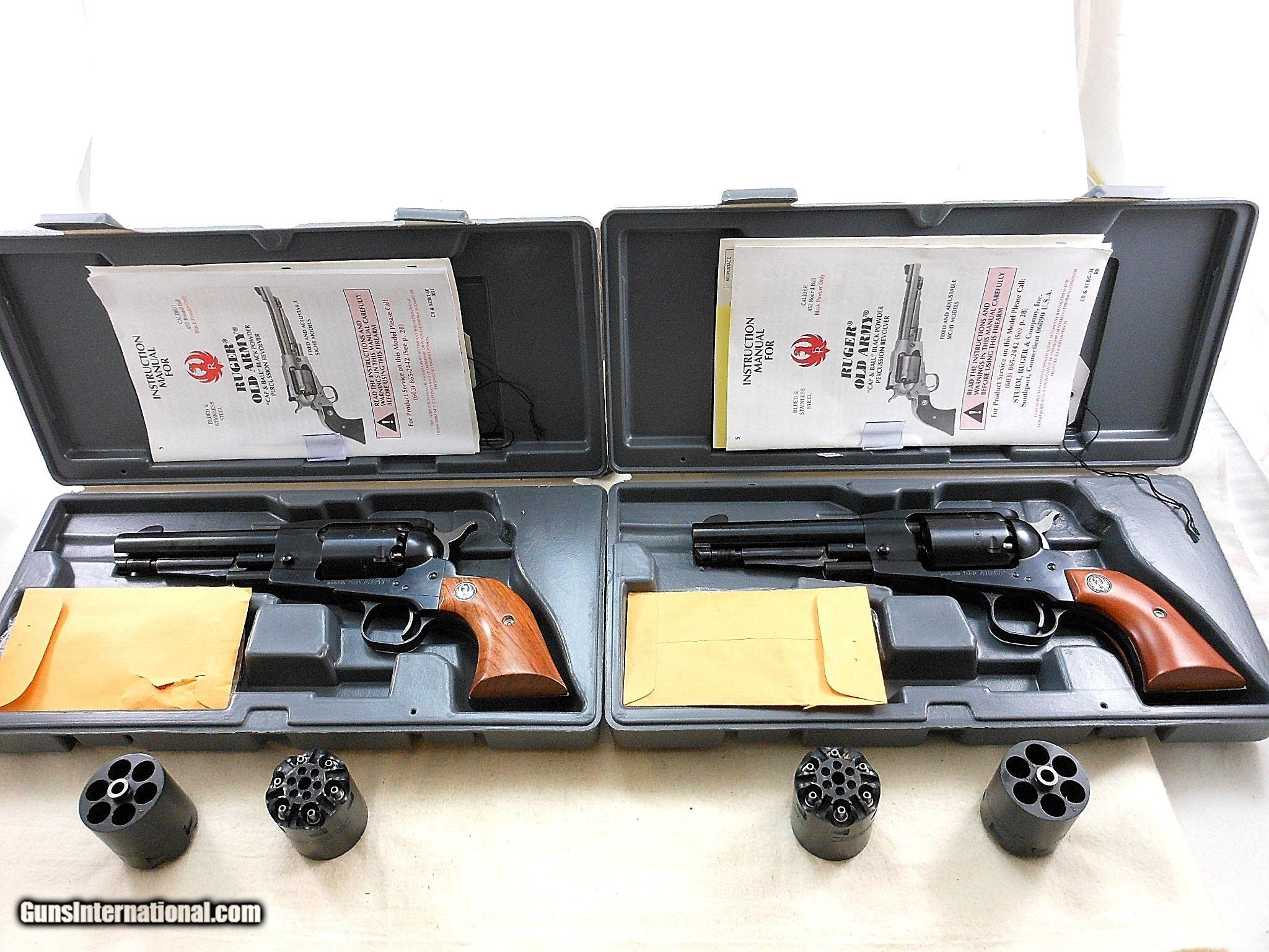 Consecutive Pair Of Ruger Old Army Cap&Ball Revolvers With Two Spare