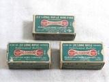Three Different 22 Long Rifle Remington - UMC Co. Dog Bone Boxes