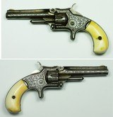 EARLY NIMSCHKE ENGRAVED SMITH & WESSON 22 RIMFIRE SINGLE ACTION, 1ST MODEL, 3RD ISSUE, ORIGINAL IVORY GRIPS - 13 of 14