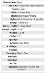 RUGER GP100 357 DA REV 5SS HB (Model 01740) Stainless Steel Dealer Exclusive RARE - 2 of 3