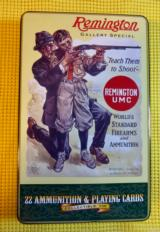 Remington .22 Long Rifle Ammo in Tin Collectible Box with Playing Cards