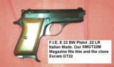 FIE model E22 Pistol Excam Factory 10 Shot Magazine for GT22 Pistol Blue Steel 22 LR Long Rifle Caliber F.I.E. Tangfolio Italy - 5 of 7