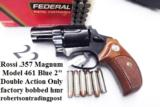 Rossi .357 Magnum model 461 Blue Steel 2 inch 6 Shot DAO Bobbed Hammer Excellent in Box Factory Demo Walnut Grips Discontinued S&W K Colt D Frame type - 1 of 15