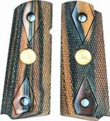 Colt 1911 Officers Model Tigerwood Grips With Medallions- 1 of 1