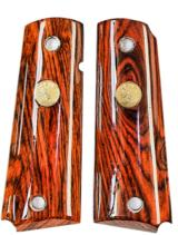 Colt 1911 Rosewood Grips With Gold Medallions - 1 of 1