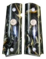 Colt 1911 Government Model Pearl Premium Grips, Black & Gold With Colt Medallions - 1 of 1