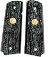 Colt 1911 Imitation Jigged Buffalo Horn Grips With Medallions - 1 of 1