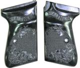 Walther PP & PPK/S Auto Grips, Checkered With Floral Design, Black