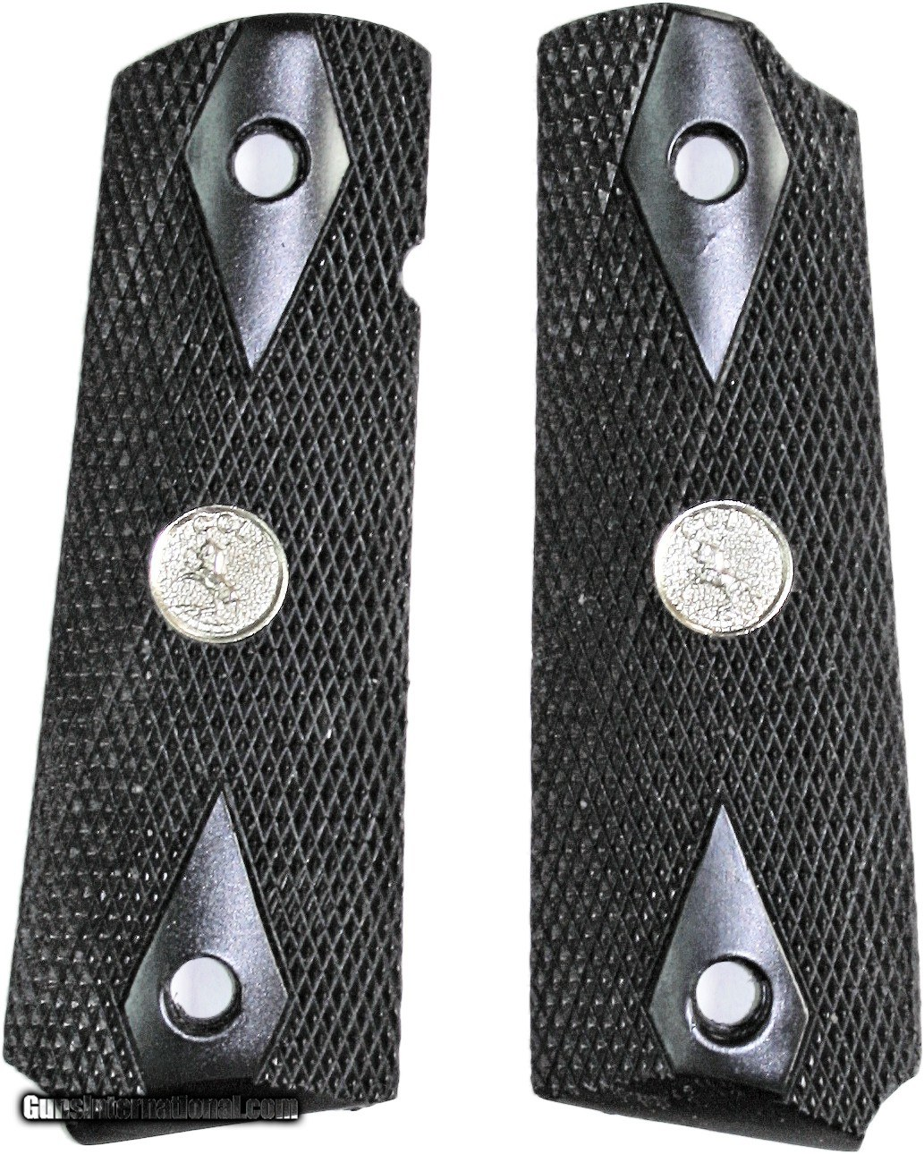 Colt 1911 Grips, Black, Checkered With Medallions for sale