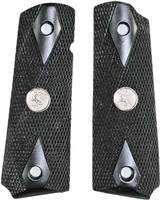 Colt 1911 Grips, Black, Checkered With Medallions