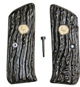 Colt Woodsman 1st Series Imitation Jigged Buffalo Horn Grips With Medallions