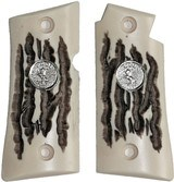 Colt Mustang & Colt Pocketlite Imitation Jigged Bone Grips With Medallions