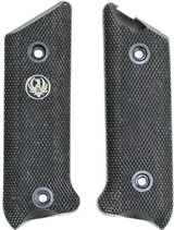 Ruger MKII .22 Auto Black Checkered Grips, 1982-, Medallion in Right Grip
