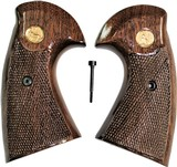 Colt Python 2nd Generation Walnut Grips, Smiley Checkered Pattern, Glossy
