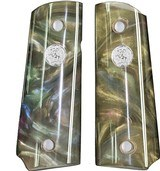 Colt 1911 Officers Model Pearl Premium Grips, Abalone, With Medallions - 1 of 1
