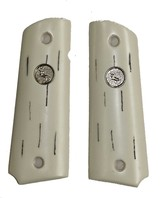 "Colt 1911 or Colt Commander Ivory-Like ""Barked"" Grips With Medallions - 1 of 1"