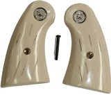 """Colt Python Small Panel Ivory-Like """"Barked"""" Grips With Medallions"""