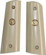 Colt 1911 Ivory-Like Grips, Smooth, Flat Bottom With Medallions - 1 of 1