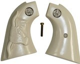Colt Scout & Frontier Ivory-Like Grips With Steer & Medallions - 1 of 1