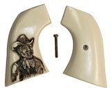 Pietta 1873 SA Ivory-Like Grips, Antiqued Relief Carved Texas Ranger