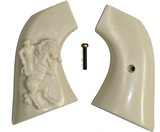 EMF1873 SA Great Western II Revolver Ivory-Like Grips, Relief Carved Cowboy