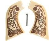 Ruger Super Blackhawk Ivory-Like Grips, Antiqued Relief Carved Rose