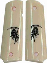 Colt 1911 Dupont Corian Ivory-Lux Grips With Grim Reaper - 1 of 1