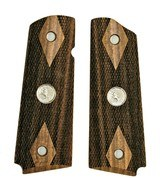 Colt 1911 Claro Walnut Grips, Double Diamond Checkered, Medallions