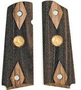 Colt 1911 Claro Walnut Grips, Double Diamond Checkered, Medallions - 1 of 1