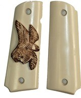 Colt 1911 Ivory-Like Grips, Antiqued Relief Carved American Eagle