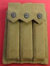 U.S.M.C. WW ll Magazine Pouch and 3 Mags For A Thompson Machine Gun.