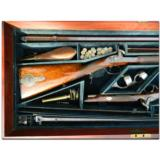Woodward and Foster, Doncaster, England. Incredibly rare 4-gun casing consisting of two sporting guns and two sporting rifles- 10 of 14