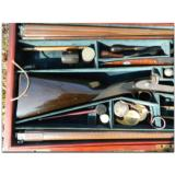 Woodward and Foster, Doncaster, England. Incredibly rare 4-gun casing consisting of two sporting guns and two sporting rifles- 7 of 14