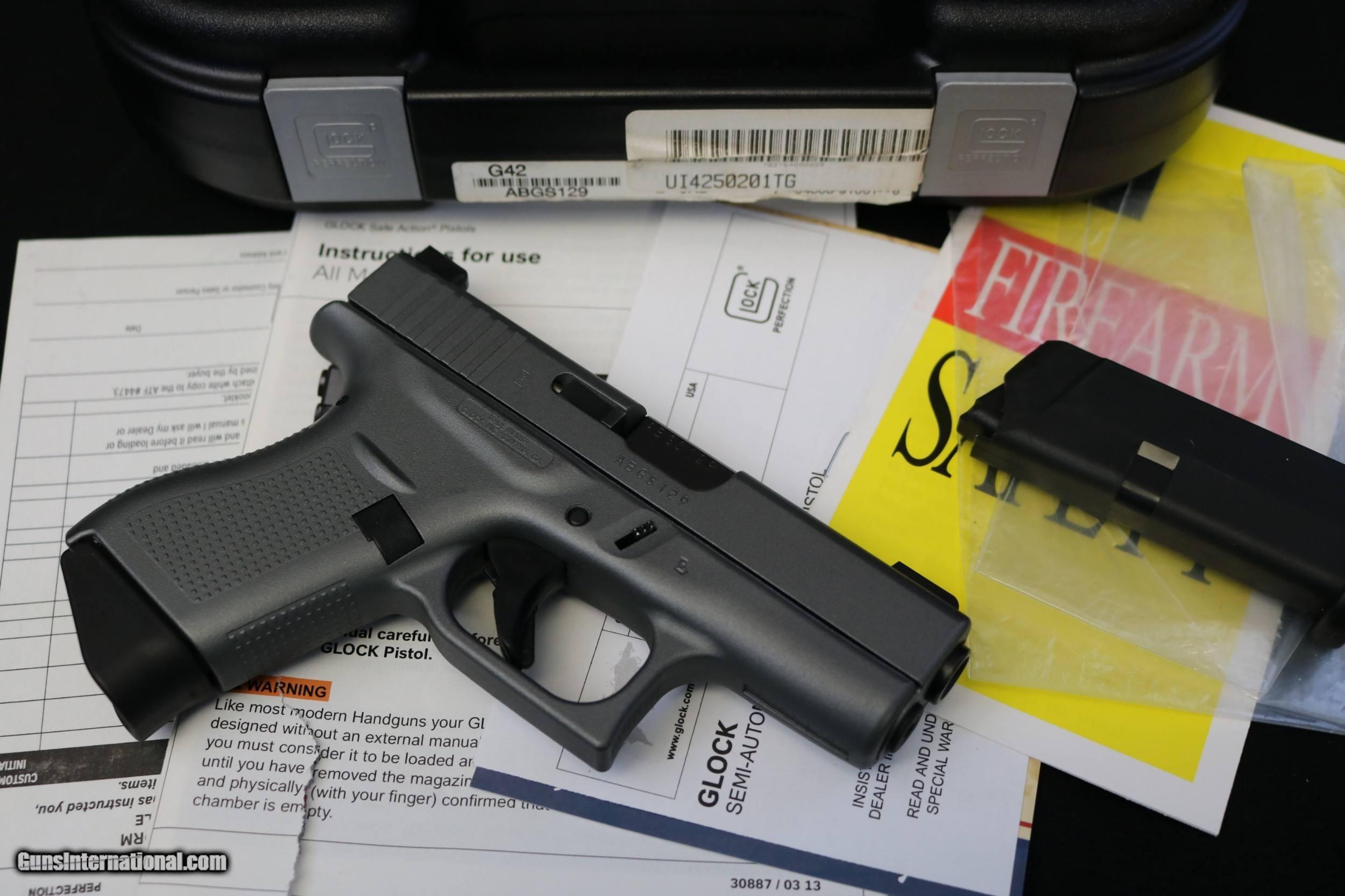 Like New Glock 42 380 Factory Gray w/ box & papers 3 dot