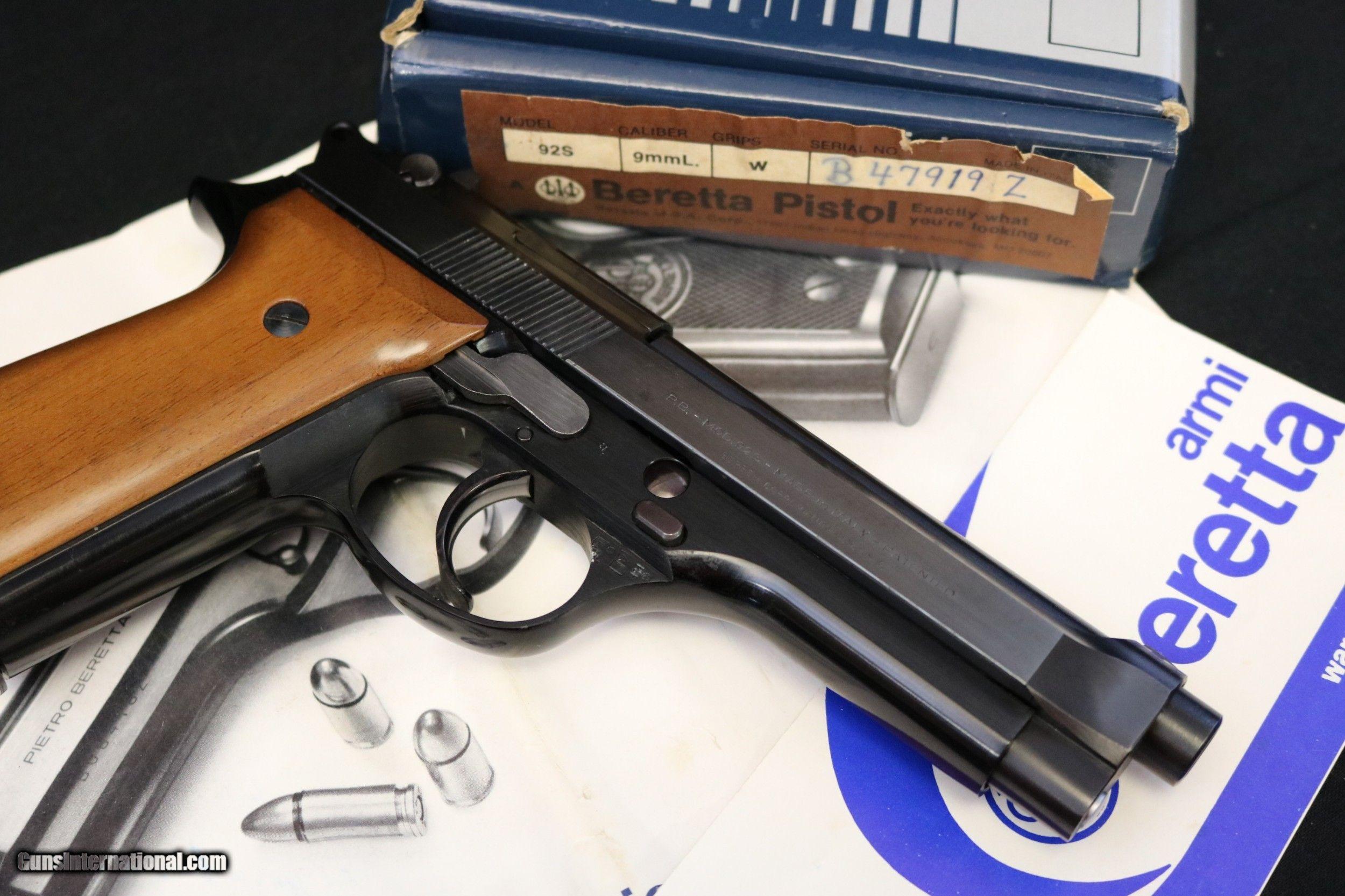 Sold 8/10/2019) 1980 made Beretta 92S factory Box, paperwork