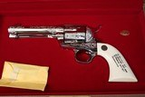 """(Sale Pending 9/18/2019) 1989 Factory Fired Colt SAA Single Action Army Engraving Sampler 45LC 4.75"""" Factory Nickel w/ Ivory NIC - 1 of 21"""