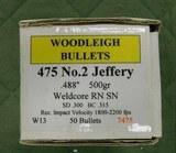 woodleigh 475 no 2 jeffery bullets