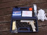 Colt 1911 Series 80 Nickel 38 Super Very Unique with factory gold accents and factory engraved scorpions MUST SEE - 1 of 7