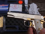 Colt 1911 Series 80 Nickel 38 Super Very Unique with factory gold accents and factory engraved scorpions MUST SEE - 4 of 7